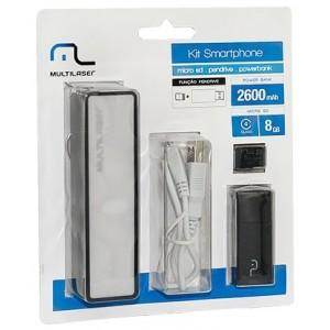 Kit SmartPhone - Power Bank + Pendrive + Cartão de Memoria Micro SD 8GB Multilaser