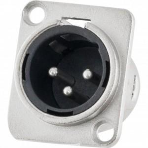 Conector XLR Macho Painel 3 Pólos