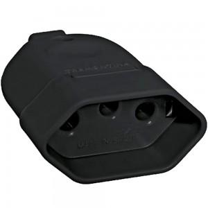 Plug Femea Prolongado Monobloco 2P + T PB (Padrão Brasileiro) 10A 250V Preto
